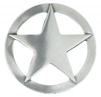 Large Silver Star Belt Buckle