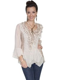 Honey Creek Lace and Ruffle Blouse Pullover Style 3/4 Sleeves