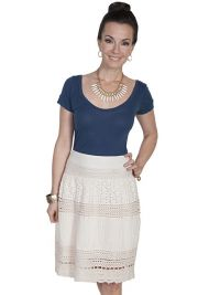 Honey Creek Multi panel short skirt features crochet in Ivory