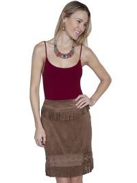 Honey Creek Short fringe skirt in chocolate