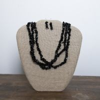 J-1180 Three Strand Black Chip Necklace Set