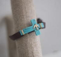 Turquoise Cross Leather Bracelet with Bird J-2716