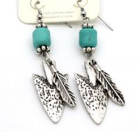 Arrow and Feather Earring J-3033 Silver