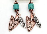 Arrow and Feather Earring J-3034 Copper