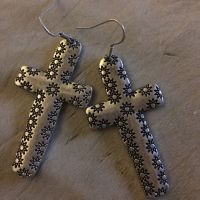 New Starburst Cross Earrings J-4007-Silver