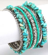 Turquoise Chip Bangle J-1840