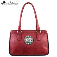 LEA-6001 Montana West Trinity Ranch Full Genuine Leather Collection-Burgundy