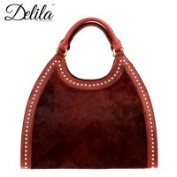 LEA-6006 Delila 100% Genuine Leather Collection-Burgundy