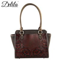 LEA-6014 Delila 100% Genuine Leather Tooled Collection-Coffee