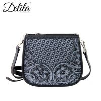 LEA-6015 Delila 100% Genuine Leather Tooled Collection-Black