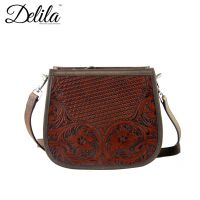 LEA-6015 Delila 100% Genuine Leather Tooled Collection-Coffee