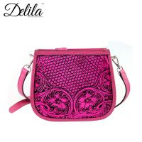 LEA-6015 Delila 100% Genuine Leather Tooled Collection-Hot Pink