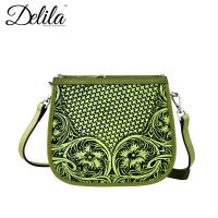 LEA-6015 Delila 100% Genuine Leather Tooled Collection-Lime