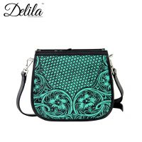 LEA-6015 Delila 100% Genuine Leather Tooled Collection-Turquoise