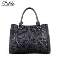 LEA-6016 Delila 100% Genuine Leather Tooled Collection-Black