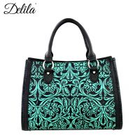 LEA-6016 Delila 100% Genuine Leather Tooled Collection-Turquoise