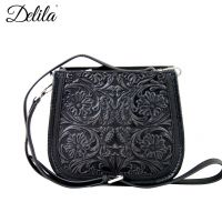 LEA-6018 Delila 100% Genuine Leather Tooled Collection-Black