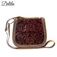 LEA-6018 Delila 100% Genuine Leather Tooled Collection-Coffee