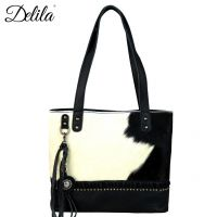 LEA-6028 Delila 100% Genuine Leather Hair-On Hide Collection Tote by Montana West