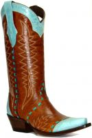 Ladies Lacy Style Tan/Turquoise Snip-Toe