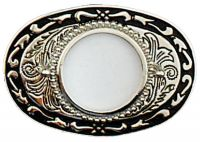 Silver Dollar Belt Buckle Silver Black Made in USA