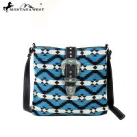 MW128-8316 Western Aztec Collection Messenger Bag-Turquoise