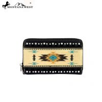 MW159-W003 Montana West Western Aztec Collection Wallet-Black