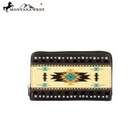 MW159-W003 Montana West Western Aztec Collection Wallet-Coffee