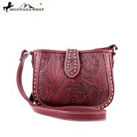 MW175-8287 Montana West Tooling Collection Messenger Handbag-Red