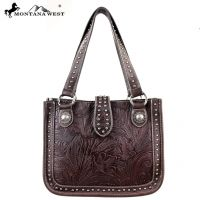MW175-8575 Montana West Tooling Collection Handbag-Coffee