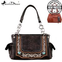 MW252G-8085 Montana West Concho Collection Concealed Handgun Handbag-Coffee