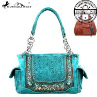 MW252G-8085 Montana West Concho Collection Concealed Handgun Handbag-Turquoise