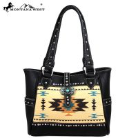 MW48-8248 Western Aztec Concho Collection Handbag - Black