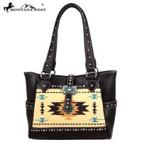 MW48-8248 Western Aztec Concho Collection Handbag-Burgundy