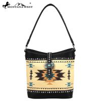 MW48-918 Montana West Western Aztec Concho Collection Handbag - Black