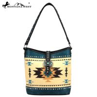 MW48-918 Montana West Western Aztec Concho Collection Handbag-Turquiose