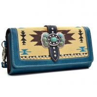 MW48-W002 Montana West Aztec Concho Collection Wallet Turquoise