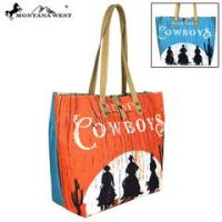 Montana West Cowboys Collection Dual Sided Print Canvas Fabric Tote MW567-9317