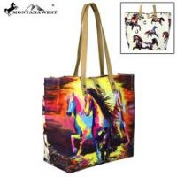 Montana West Horse Collection Dual Sided Print Canvas Fabric Tote  MW617-9317