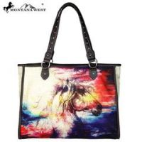 Montana West Horse Painting Canvas Tote Bag MW 625-8112