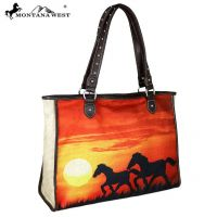 Montana West Horse Painting Canvas Tote Bag MW625-8112