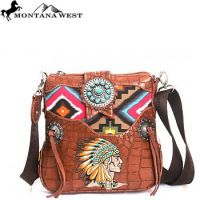 MW90-8295 Montana West Western Aztec Collection Messenger Bag Brown