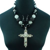 Beads Mixed Necklace with Crystal Cross Pendant Neckalce Earring Set