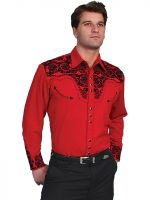 Scully Mens  Floral Tooled Embroidery Vintage Shirt P-634