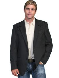 Scully Mens Blazer Floral Tonal Embroidery P-733 Long.
