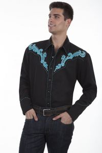 Legends Embroidered Scroll Shirt With Metal Studs.P-837