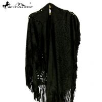 Montana West Suede-Feel Laser-Cut Geometric Design Poncho