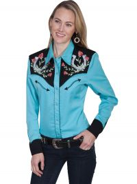 Legends by Scully Womens Western Shirt - Turquoise