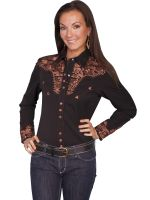 Legends Scully Womens Western Shirt- Black PL-654