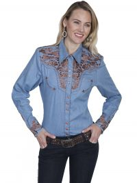 Legends Scully Womens Western Shirt- Blue